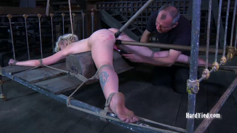 Bondage, spanking and suffering for stripped blond part 1 Full HD 1080p