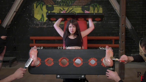 HD Power exchange Sex Episodes Kate Anima receives tickled in stocks with four hands