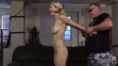 Bondage, spanking and torture for sexy naked blonde part 1