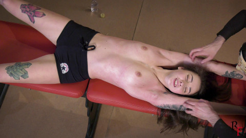 HD Pain play Sex Clips Topless upperbody tickling with oil