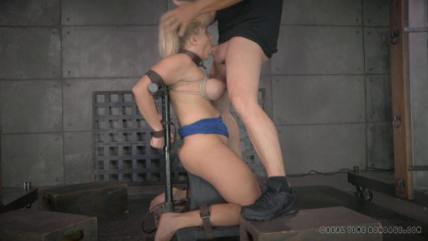 RTB - A Blonde orgasmblasted on sybian and does inverted deepthroat!