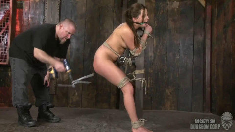 Bondage, spanking, hogtir and punishment for hot model part 2