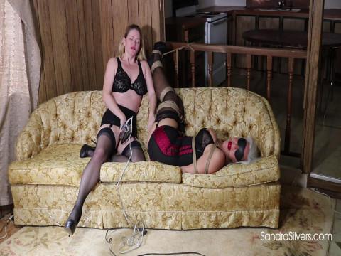 Vintage Klaw-Style Bound, ballgagged & Blindfolded Girdle Vixen