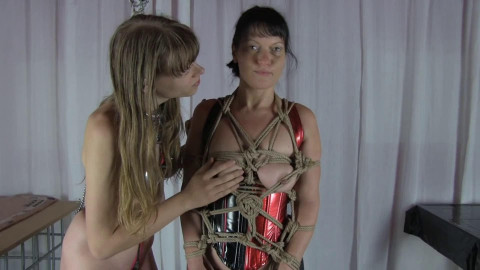 Tight restraint bondage and predicament for hot excited dark brown