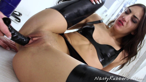 Rubber Lezdom - Mouth Strap-on Part 1 - Jennifer & Miky - Full HD 1080p
