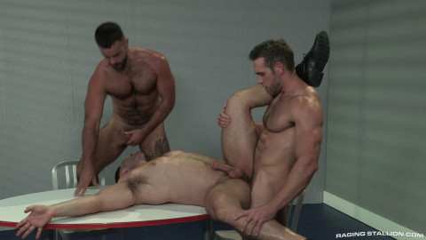 Amazing Fuck With Three Muscle Fuckers