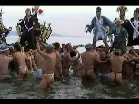 Fundoshi Festival with Muscleman Posing Naked with Erection