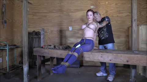 Bondage, domination, hogtie and torture for very horny girl