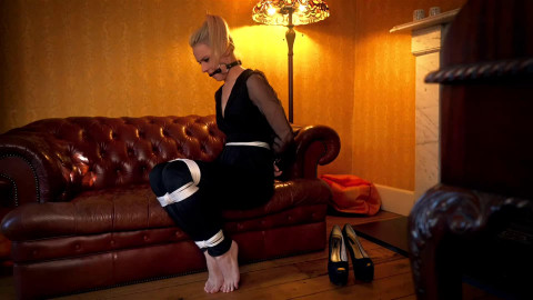Super restraint bondage, wrist and ankle bondage and suffering for hot blond part 2