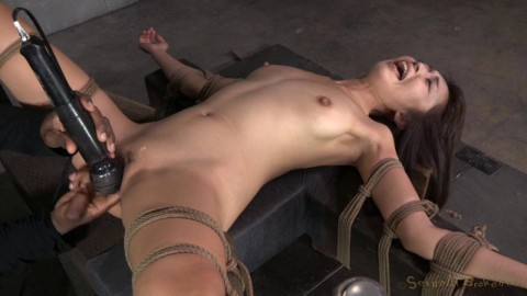 Little Asian slut Marica Hase roughly fucked by 10 inch BBC in strict bondage, cums hard and fast!