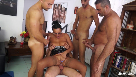 Laura Rey - Italian orgy features mature fucked by four young cocks (2018)