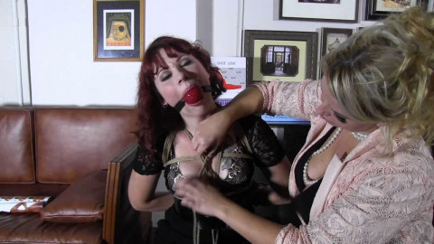 A Challenging Gag and Hogtie For The Curvy Redhead - HD 720p