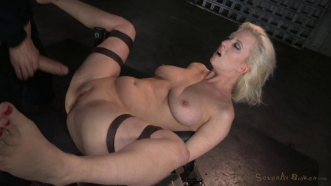 Busty blonde Cherry Torn bound and roughly fucked by 3 cocks with brutal messy deepthroat!