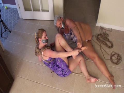 Barefoot Bondage Escape Attempt
