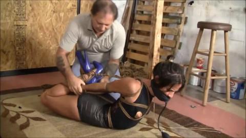 Super restraint bondage, domination and wrist and ankle bondage for very hawt brunette hair Full HD 1080p