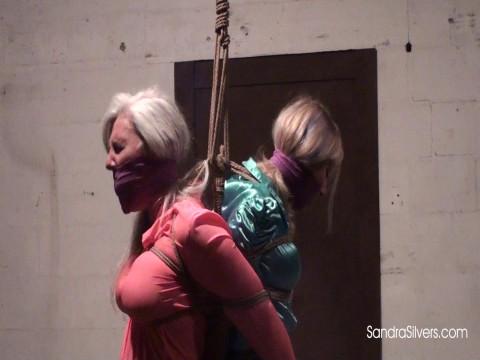 Two Semi-Suspended Sexy Silky Secretaries Suffer Aggressive Bondage Orgasms!