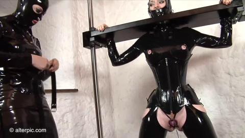 Tight bondage, spanking and torture for sexy slavegirl in latex Full HD