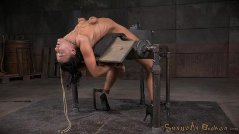 Flexible London River bound to a sybian in a brutal backarch