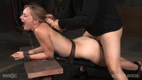 Mona Wales belt bound, shackled and throat trained