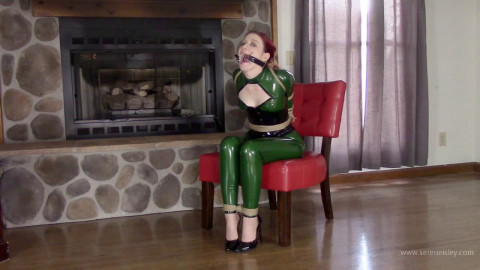Constance - Green Latex Catsuit and Jute Rope