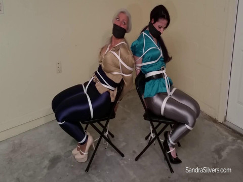 Two Tightly Tied, Blindfolded, MOTHER ID LIKE TO FUCK Spandex Disco Pants