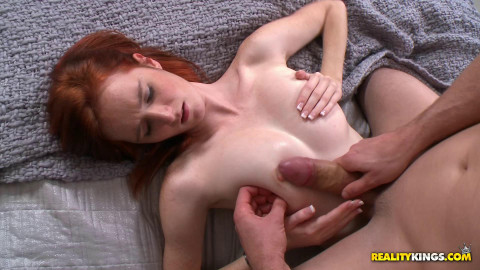 Redhead Cutie Got Her Sweet Tits Sucked and Stroked