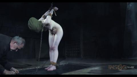 Heavy restraint bondage, spanking and soreness for stripped slavegirl HD 1080p