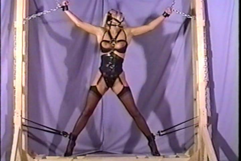Heres a lady whos bound in rope and gagged
