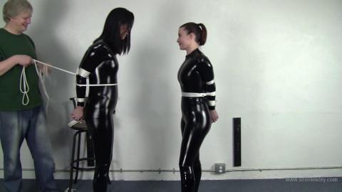 Belle Davis & Serene Isley - Catsuited Duo Standing Bind