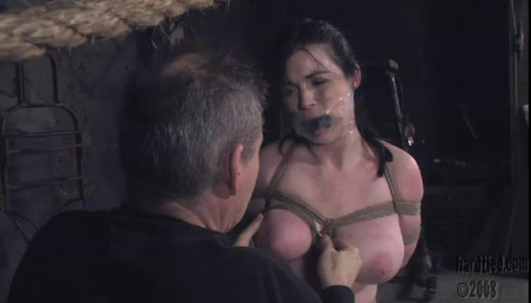 After ballooning her breasts, he uses the hoist as pivot between hair and breasts