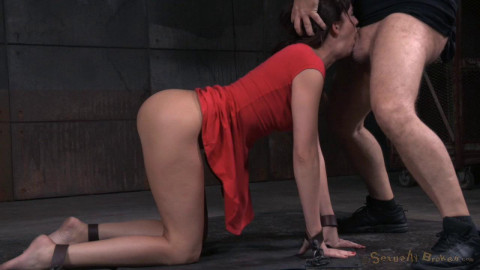 Brunette Bianca Breeze bound doggystyle with rough three way sex and brutal drooling deepthroat!