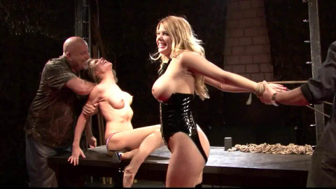 Tight bondage and torture for a two naked slavegirls