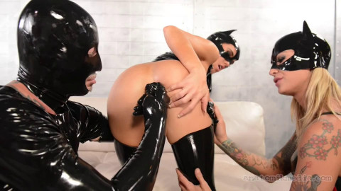 Bondage, domination and torture for two bitches in latex part 1 Full HD1080