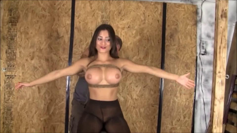 Constricted restraint bondage, strappado and punishment for sexually excited hot brunette hair Full HD 1080p