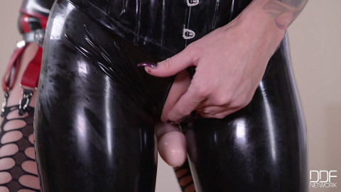 Lucy latex suck my strapon