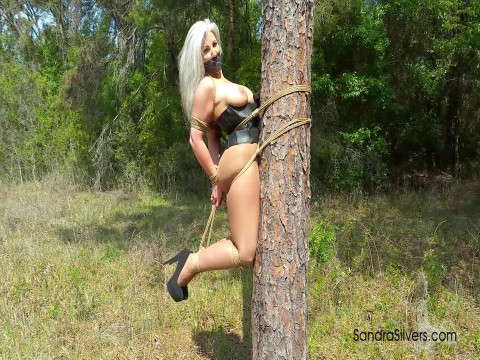 Outdoor Bondage Corseted MOTHER ID LIKE TO FUCK Hogtied off the Ground, Welded to a Tree!
