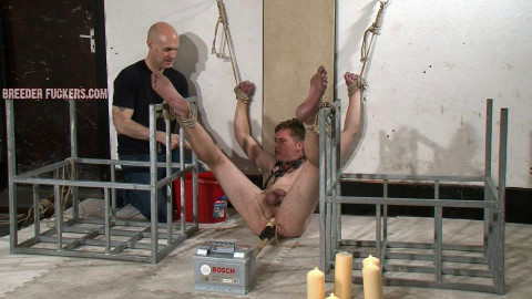 Joel - 5 - Extreme bondage, testicles and dick pegged, arsehole fingered