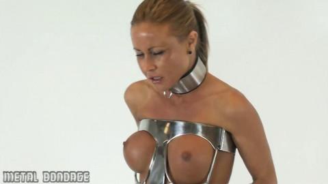 Sarah Jain posing in the Steel Hobble Dress