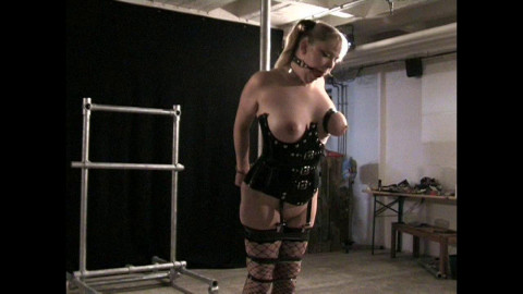Rubber Torture on the Pole for Lexa Lane - webcam 2