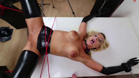 Super tying, castigation and domination for sexy blond in latex