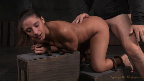 All natural stunner Abella Danger bound belts doggy style roughly taken from both ends! (2015)