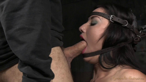 Jennifer White shackled on sybian bound in blowjob machine drooling deepthroat! (2015)