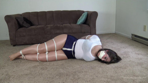Two Tight Ties in Tight Shorts - Brunette with Big Ass in tight and shiny bondage