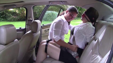 Flirty restraint bondage pleasure in the backseat & Belles revenge