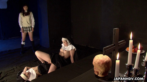 Lesbian act with freaky japanese nuns