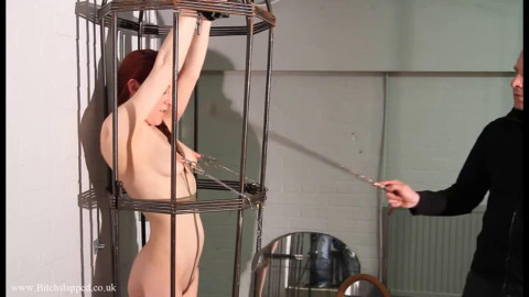 Constricted tying, domination and torment for stripped slavegirl