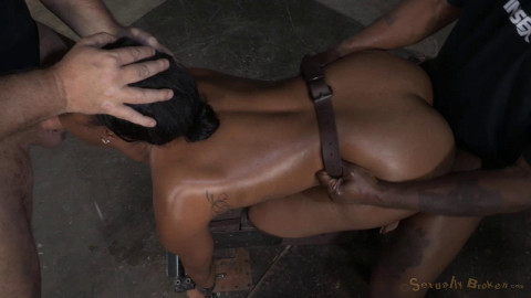 Chanell Heart bound doggystyle and fucked hard from both ends, epic deepthroat and multiple orgasms!