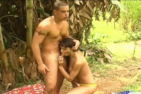 Hot Brazilian Tranny Fucking in Forest