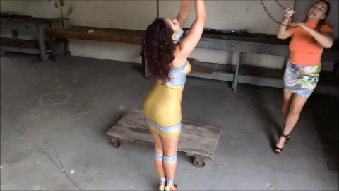 Tight tying, strappado and wrist and ankle bondage for excited model
