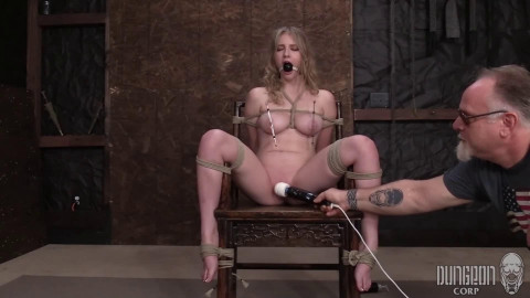 Tight restraint bondage, strappado and spanking for bare hot gal part 2